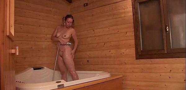 Young and sexy girl banged in a sauna by a mature man